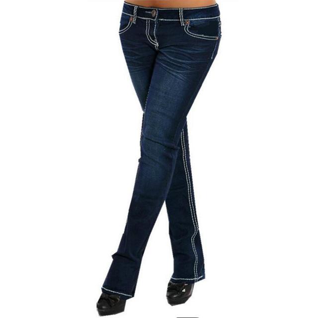 MIND FEET Slim Stretch Low Waist Blue Vintage Straight Denim Jeans