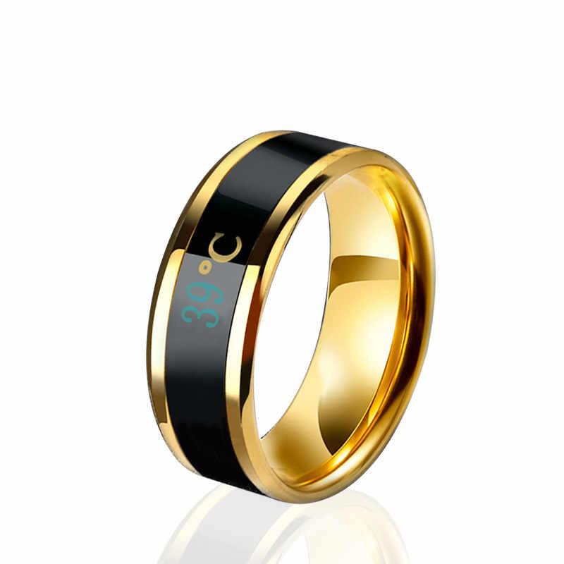 Suhu Ring Titanium Baja Suasana Hati Emosi Perasaan Cerdas Suhu Sensitif Cincin untuk Wanita Pria Tahan Air Perhiasan
