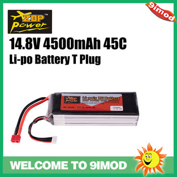 цена на T Plug Lipo Battery Zop 14.8v 45c 4500mah For Of Racing Car Quadcopter Prone Boat 4s Power