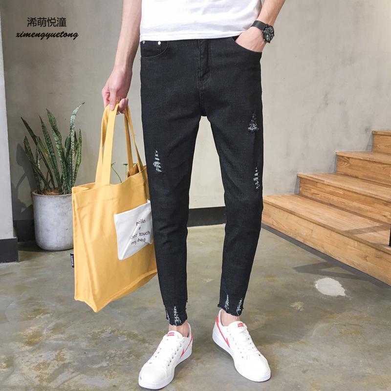 2018 summer new street street hole trousers leisure nine points jeans men, Slim feet hole washing jeans men