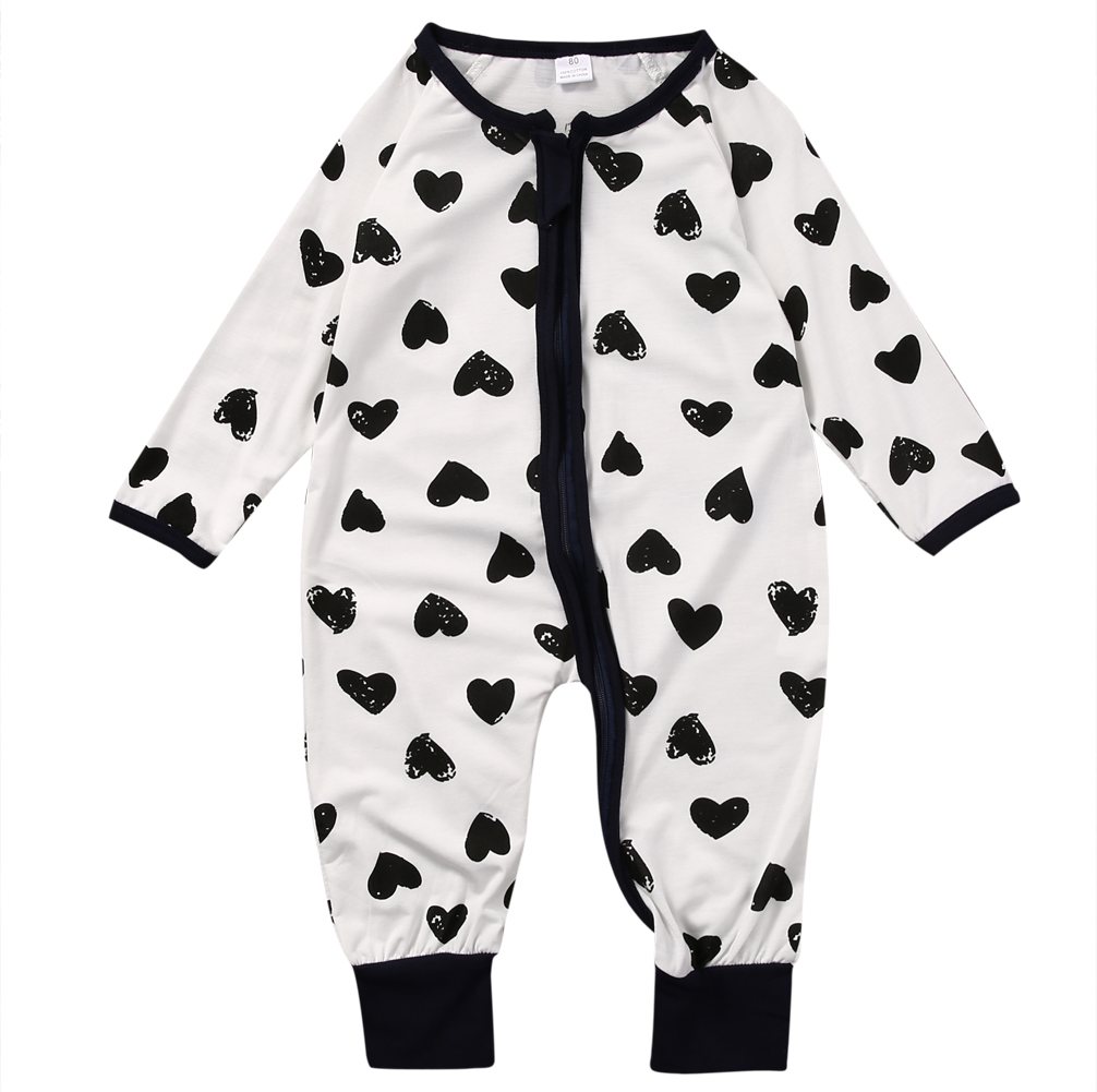 2017 New Cotton Newborn Infant Kids Baby Boy Girl Long Sleeve Heart Print   Romper   Jumpsuit Clothes Outfit Size 0-24M