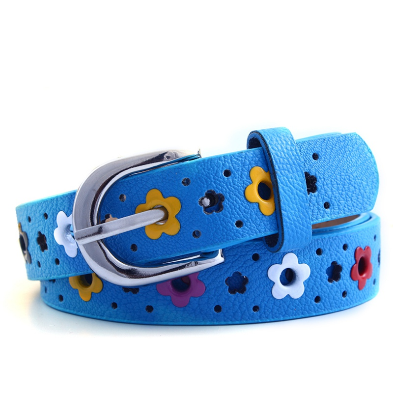 Candy Color Flower Belt Buckle PU Leather Kids Girls Children Toddler Waistband New Arrival