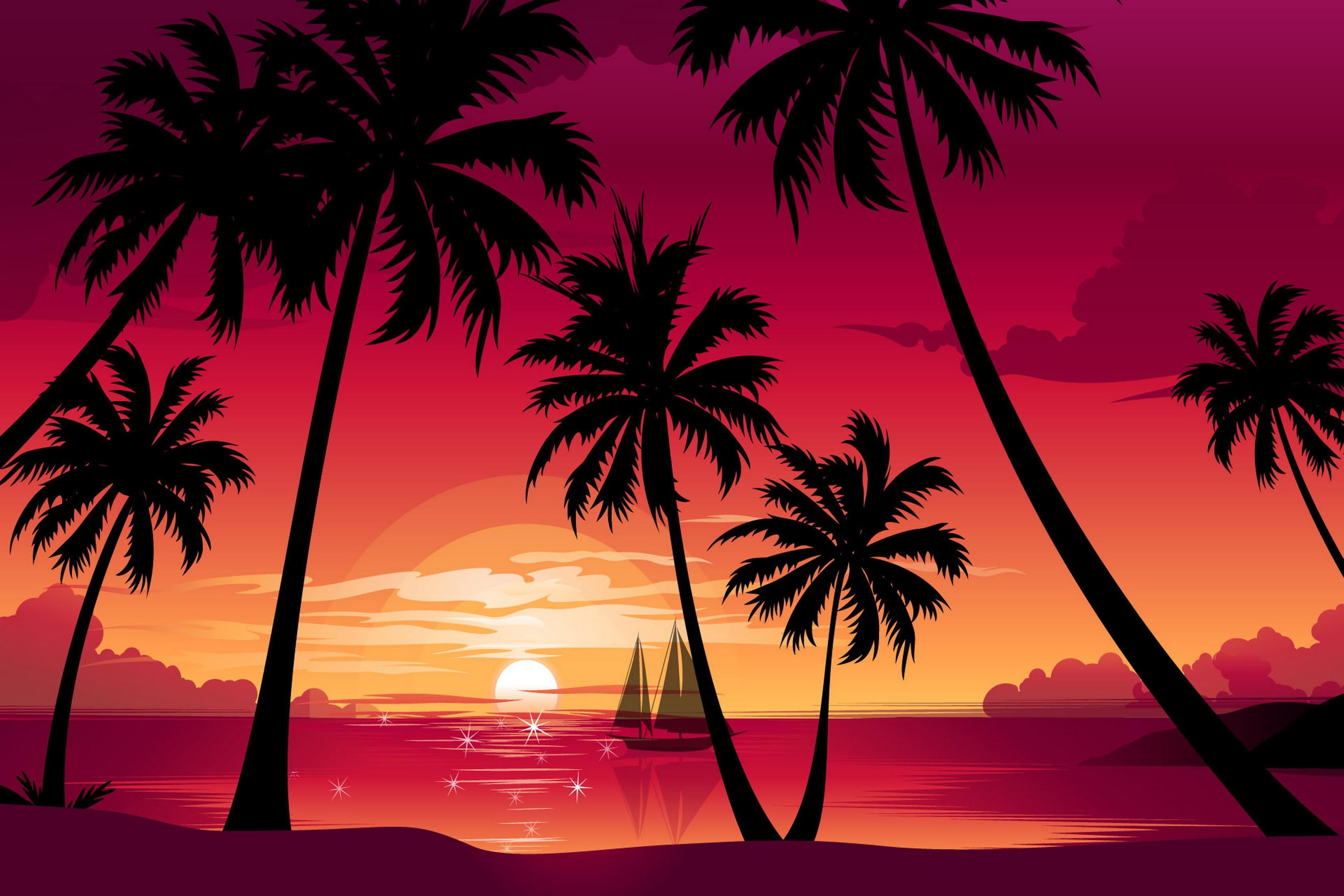 ⊱Naturaleza árboles de palma Playa Mar barco puesta de sol vector ...