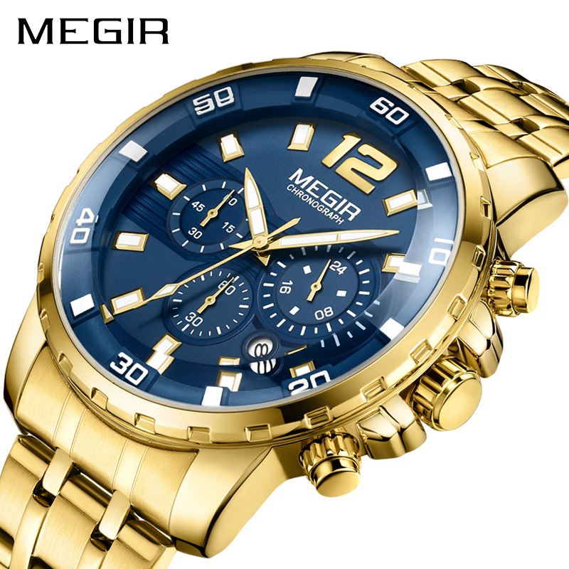 MEGIR Top Luxury Gold Watch Men Big Watches Gold Stainless Steel Military Wristwatch Big Dial Clock Male Army relogio masculino top luxury brand megir business watches men gold stainless steel mens sports quartz watch blue dial clock male relogio masculino