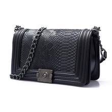 Women Handbag Leather Bag Shoulder Small Flap Crossbody Chain Lock Serpentine Vintage Designer Bags