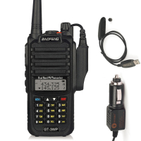 Baofeng GT 3WP IP67 Waterproof Dual Band 2M/70cm Ham Two way Radio Walkie Talkie with Programming Cable Car Charge Cable