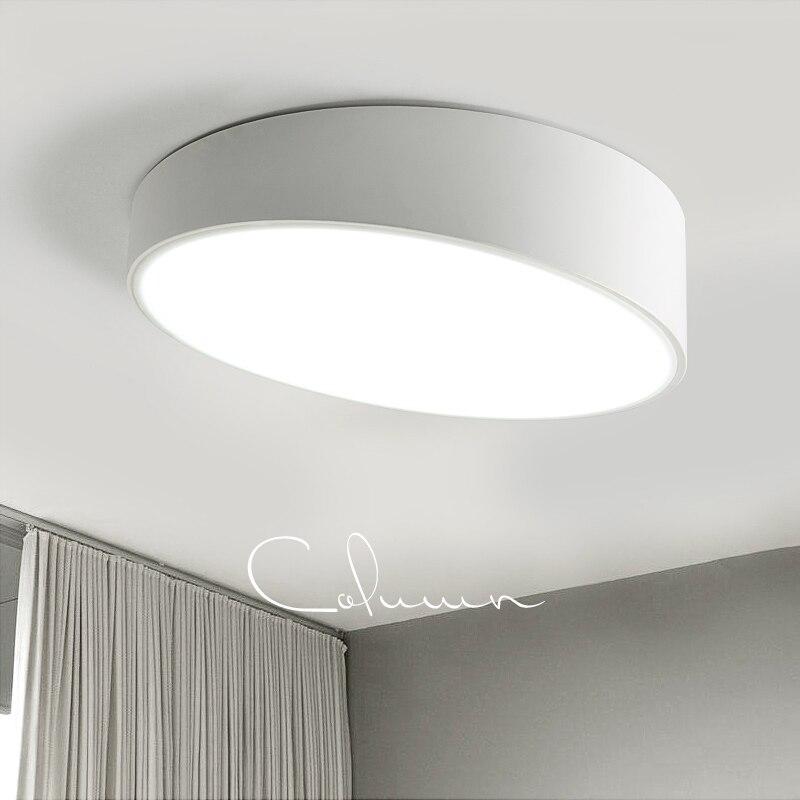 Plafond moderne à LEDs lumière ronde blanc/noir plafonniers luminaires salle à manger balcon chambre salon éclairage