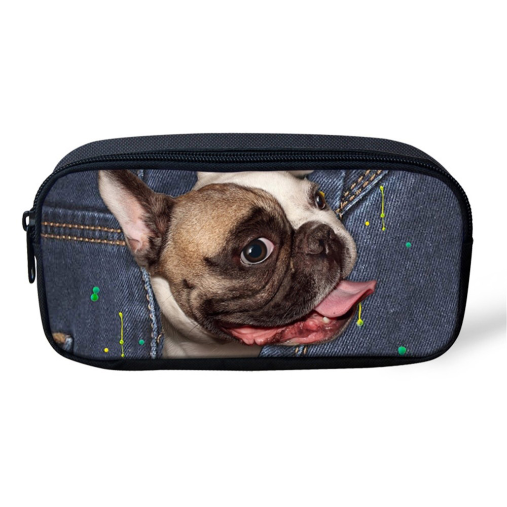 Noisydesigns Women Cosmetic Cases Demin Dog Print Travel Make Up Bag Children Stationery School Supplies Girls Pencil Case Pouch
