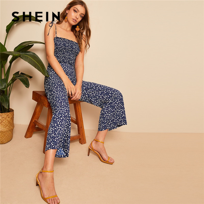 86ece497ab SHEIN Shoulder Knot Ruffle Trim Shirred Ditsy Floral Jumpsuit Women Summer  Mid Waist Sleeveless Spaghetti Strap Boho Jumpsuit