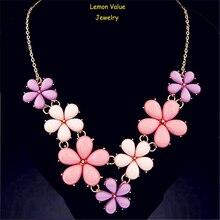 Lemon Value Bohemia Statement Choker Fashion Charms Collar Vintage Rhinestone Flower Pendant Necklace Women Jewelry