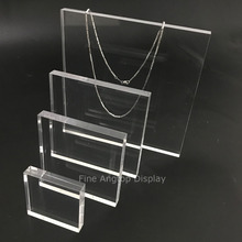 Clear Acrylic Square Display Base Jewelry Necklace Stand Holder Bracelet Rings Earrings Show Panel