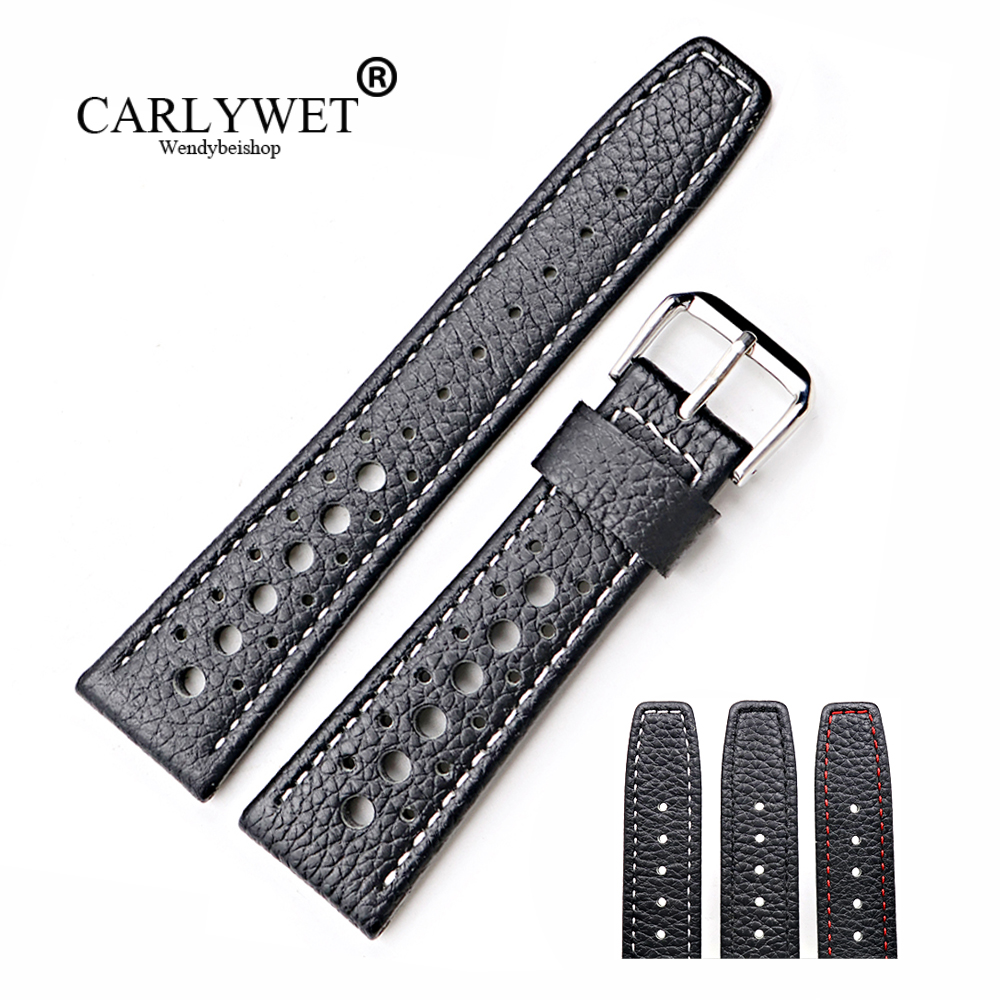 CARLYWET 20 22mm Real Calf Leather Handmade Black with White Red Stitches Wrist Watch Band Strap Belt For Dayjust Omega IWC