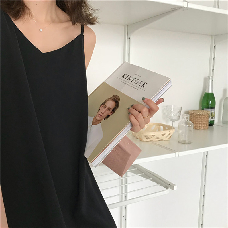 Sexy Women Maxi Dress Loose Sleeveless Dresses V-neck Sling Long Black Party Dress 2