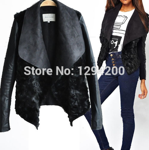 Black shearling waterfall jacket