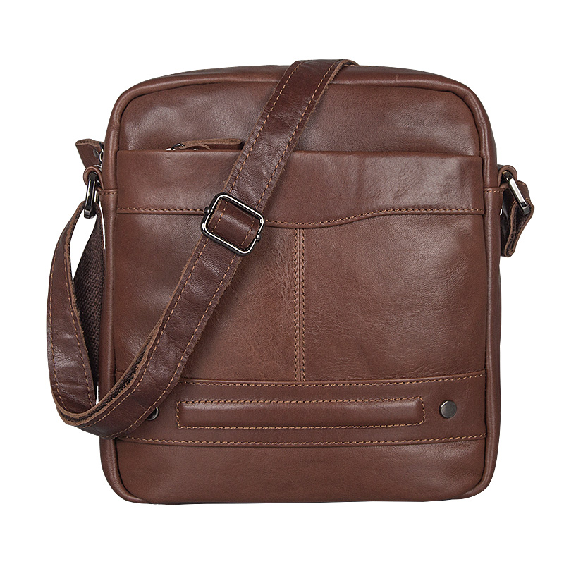 J.M.D Shiny Geneuine Cow Leather Ipad Bag Classic And Tiny Shoulder Bag Brown Cross Body Bag 1022C
