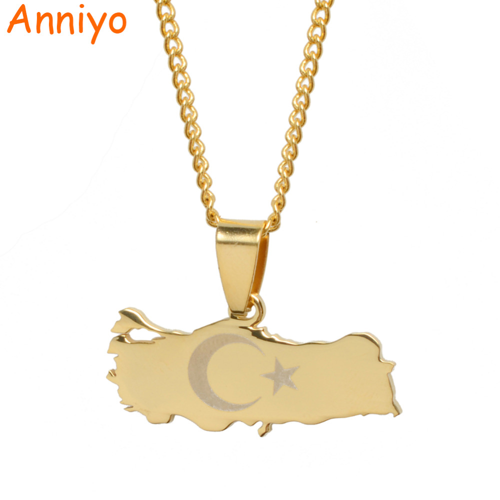 Anniyo Turkey Map & Flag Gold Color & Silver Color Pendant Necklace for Women/Men Turks Jewelry Patriotic Gifts #012021 twist american flag patriotic bandeau bikini