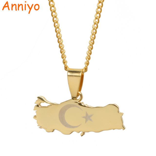 Anniyo Turkey Map & Flag Gold Color & Silver Color Pendant Necklace for Women/Me
