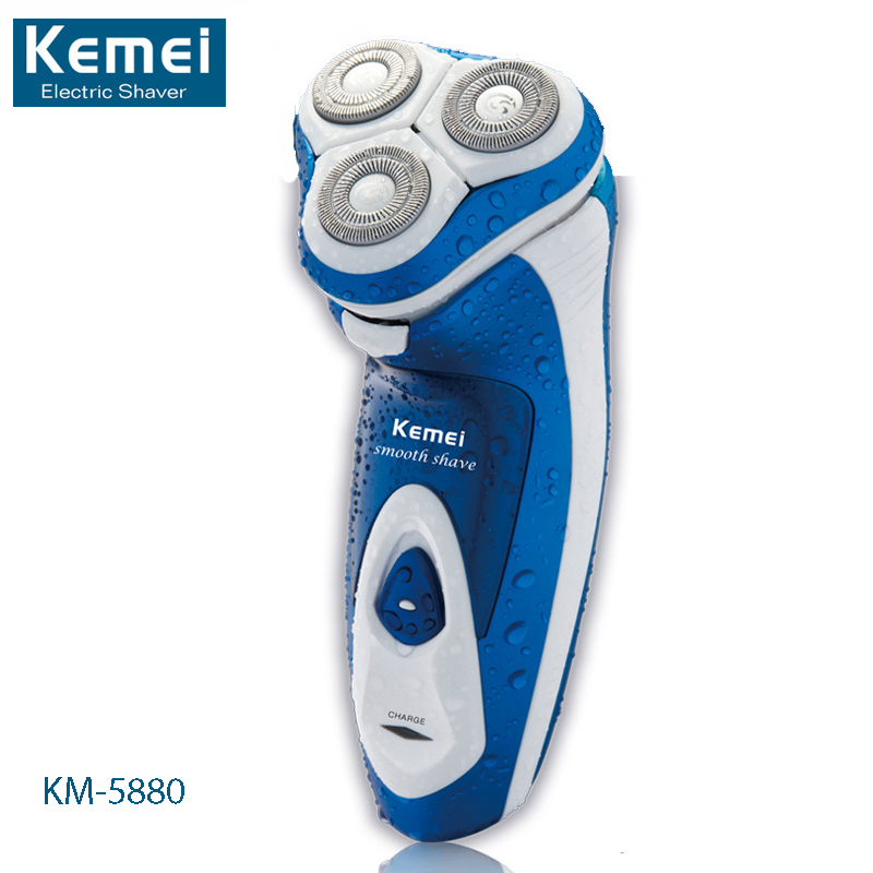 Kemei KM-5880 Washable 3 Heads Electric Razor Rechargeable Electric Shaver Three Blade Shaving Razors Men Face Care 3D Floating peak sport men outdoor bas basketball shoes medium cut breathable comfortable revolve tech sneakers athletic training boots