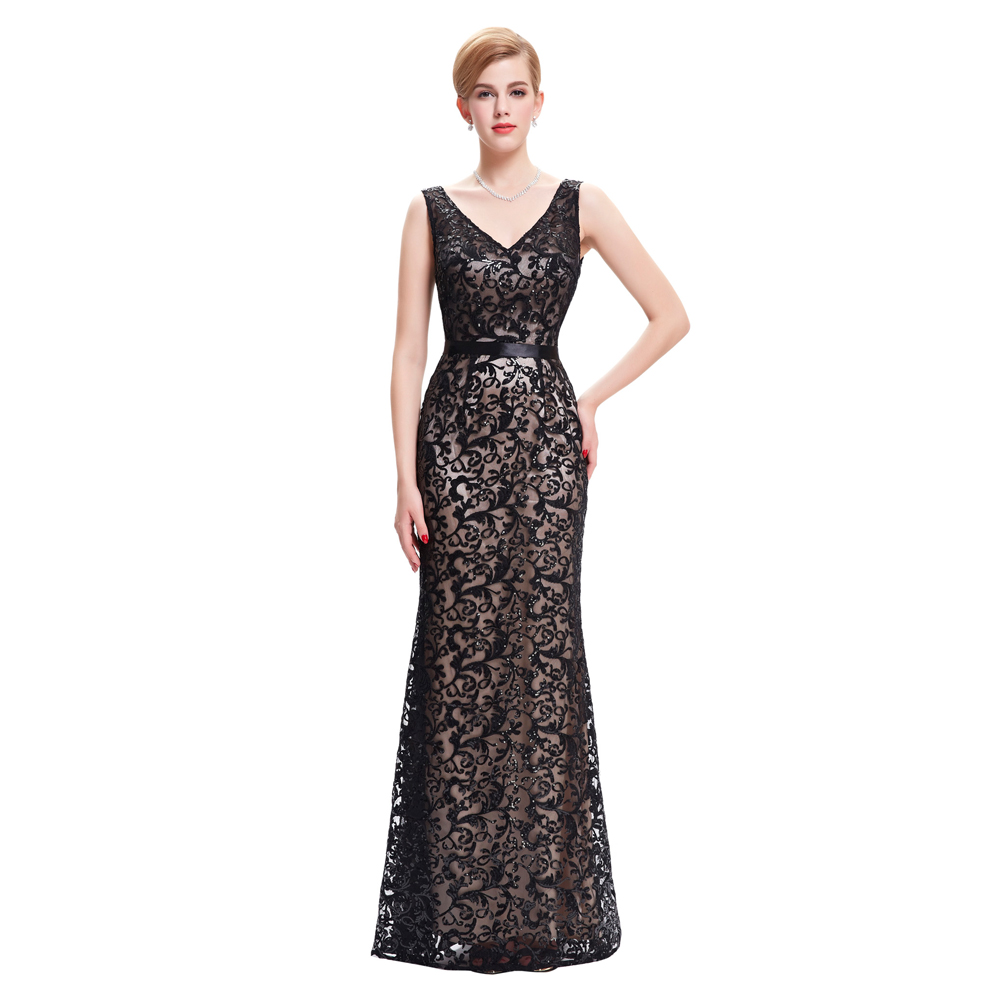 Buy Cheap Kate Kasin Womens Summer Dress Double V Neck Black Mermaid Dress Wedding 2017 Luxury Sequin Women Formal Dress Robes Satin Gown
