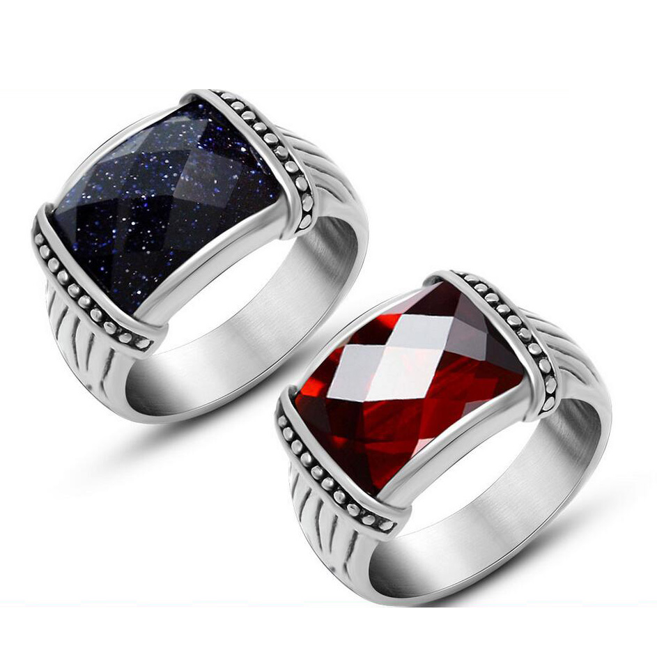 Mosaic Blue Sand Stone Pomegranate Red Stainless Steel Vintage Jewelry Men Ring Rock Rings For Party