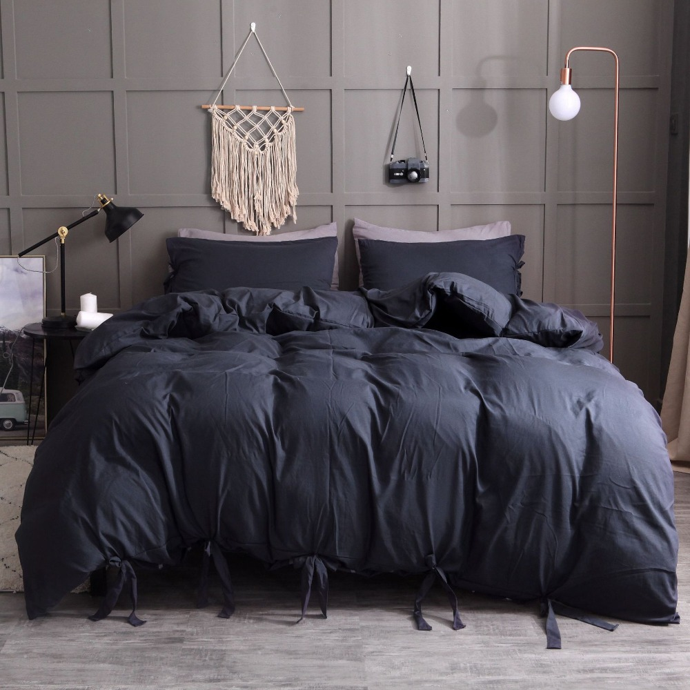 9 Colors Lacing Solid Color Faux Washed Cotton Soft Duvet Cover With Pillowcase Set 4 Size Single Twin Queen King Bedding Sets
