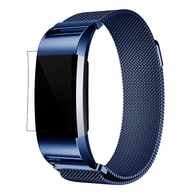 2016 New Arrival Milanese Stainless Steel Watch Band Strap Bracelet Watchbands + HD Film For Fitbit Charge 2 #ED