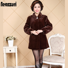 Nerazzurri Faux Fur Coat Women 2019 Winter Long Sleeve Drawstring Lantern Sleeve Black Fake Fur Jacket Plus Size 5XL 6XL 7xl