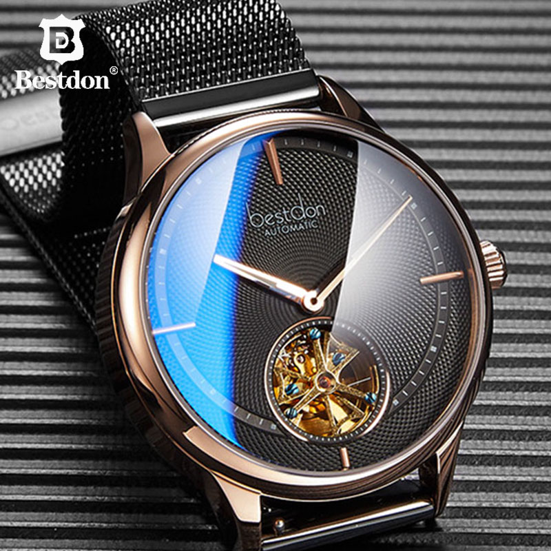 Bestdon Automatic Watches Menes Blue Mechanical Watch Skeleton Fashion Luxury Switzerland Brand Wristwatch Gift For Man