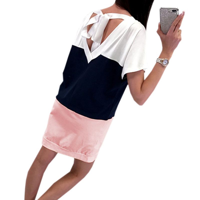 Kawaii Bandage Dress Women Plus Size Loose Patchwork Short Sleeve Mini Dress 2018 Summer Dress Femme Sexy Casual Backless GV548
