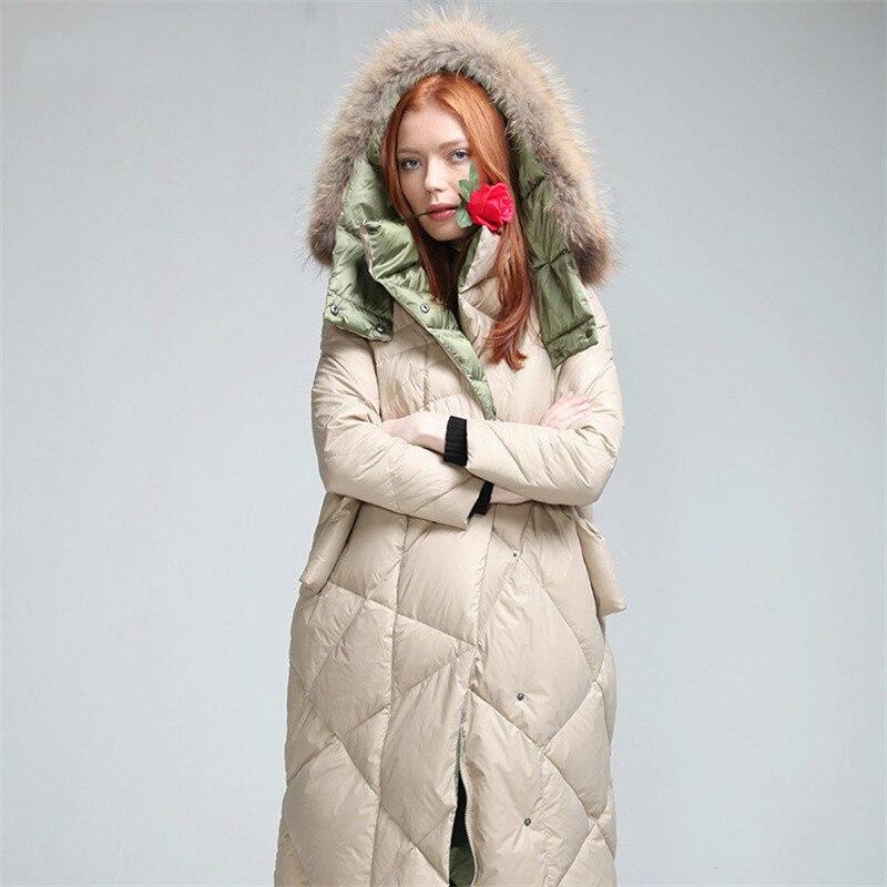 Winter 2017 Womens Down Jackets Thicken Long Outwear Fashion Loose Hood Raccoon Fur Parka Overcoat Warm Snowoutwear Europe Coats