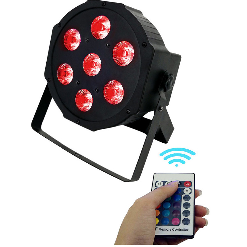 16 Pcs Hot Sale Wireless Remote Control Stage Led Wash Light Led Flat Par Light DMX512 Qual Flar Led Par 7x12W RGBW 4in1 Light