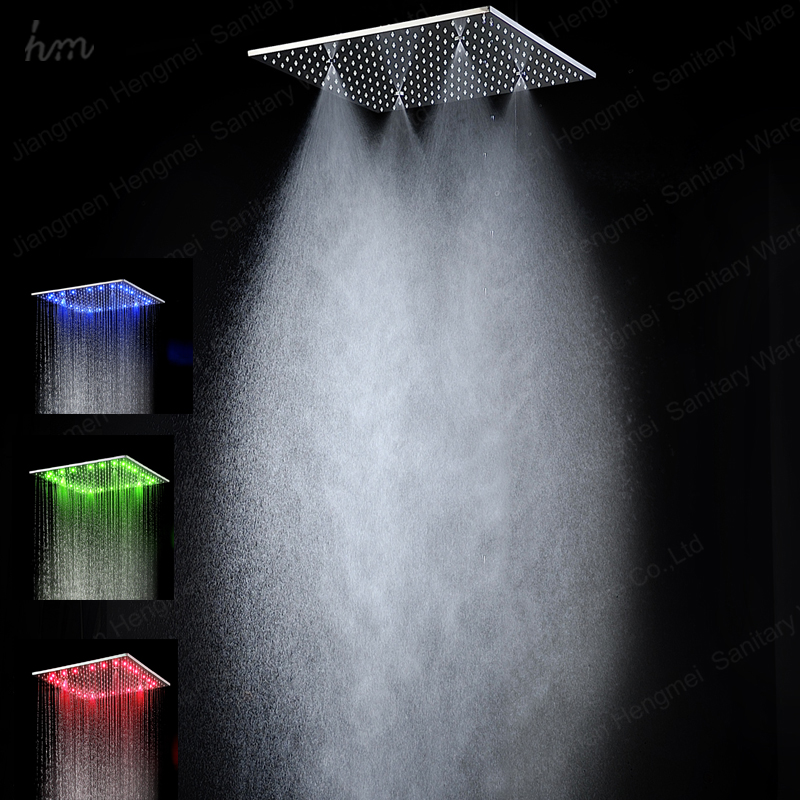 No need electrical power 20 inches big stainless steel hydro power led rain mist shower head