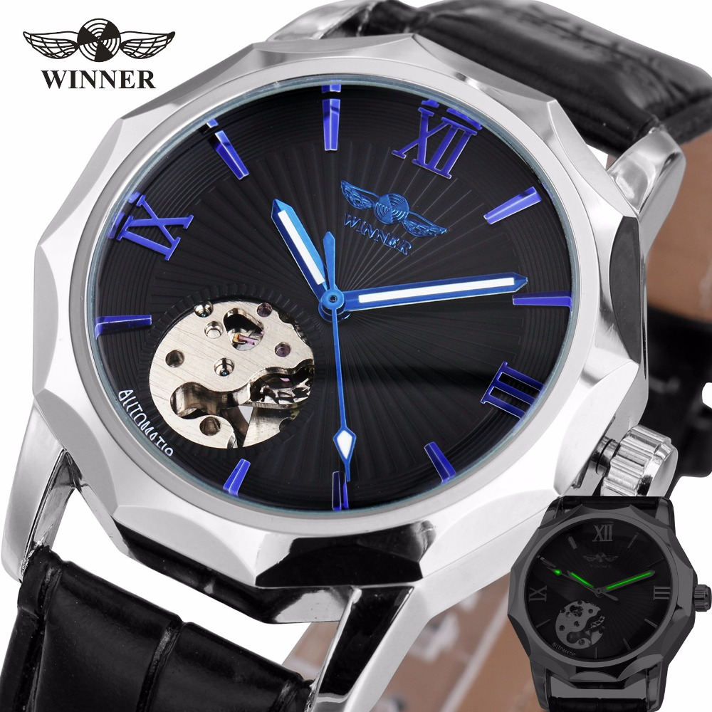 WINNER Fashion Men's Auto Mechanical Watches Leather Band Skeleton Dial Wristwatches Blue Roman Numerals Dial Design +GIFT BOX winner men sports casual auto mechanical wristwatch soft rubber band sub dial auto date skeleton dial design watch gift box