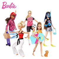 New Original Barbie Doll Dolphin Magic Series Adventure Sisters With Pet Dog Set Dolls Toy Skateboarder
