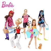 Yeni Orijinal Barbie bebek Yunus Sihirli Serisi Pet Köpek Set ile Macera Sisters Bebekler Oyuncak Kaykaycı Futbol Oyuncu Modeli Oyuncaklar
