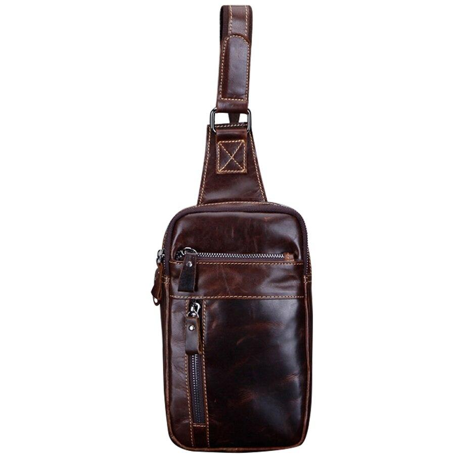 Nouveaux hommes de mode en cuir véritable poitrine fronde Packs épaule croix corps sac paquets huile cire peau de vache voyage taille Packs