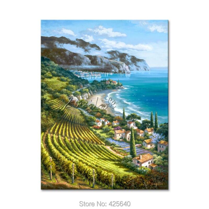 Dipinta a mano pittura di paesaggi marini mediterraneo per il ...