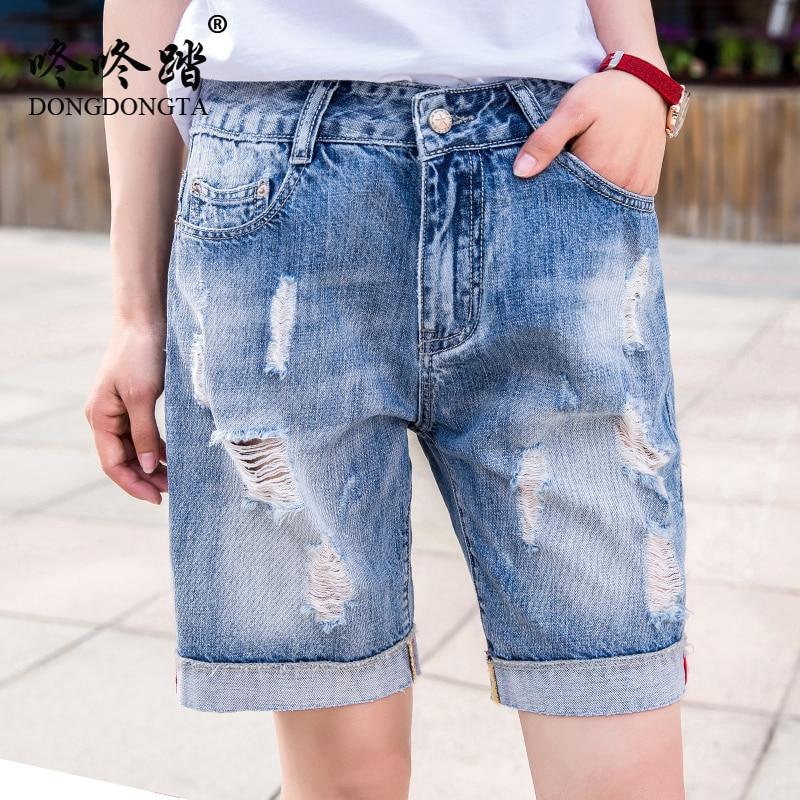 c8554b905956 Denim Shorts Ripped Jeans High Waist Plus Size Casual Fashion Slim 2018 Hole  Female Ladies Girls