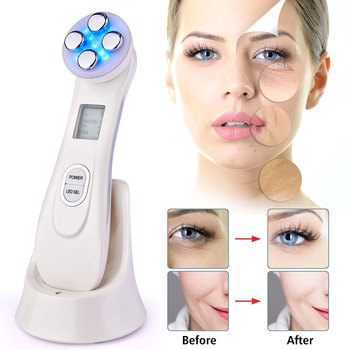 Electroporation LED Photon Facial RF Radio Device EMS Neck And Face Massager Facial Wrinkle Removal Skin Care Tighten Tool Gift rf radio frequency led photon facial mesotherapy electroporation face lifting tighten wrinkle removal skin care face massager