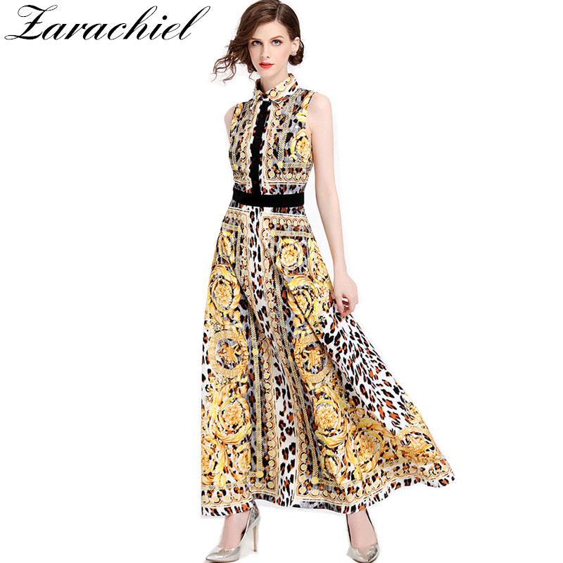 Vintage Runway Dress Leopard Print 2018 Summer Long Vestidos Women s  Sleeveless Ethnic Muslim Print Slim Ankle-length Maxi Dress a17d1c2b3