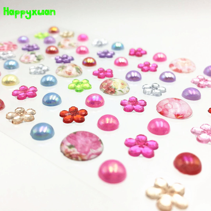 Happyxuan 10pcs Crystal Diamond Sticker Sheet Rhinestones Flowers Pearl For Crafts Acrylic Scrapbooking Decoration Photo Album