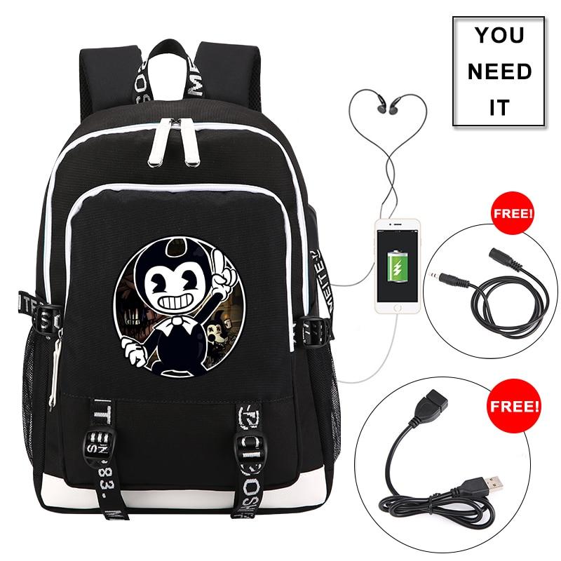 Bendy And The Ink Machine Backpack Men Shoulder Travel Bag Game Student School Bag Women Laptop Bag Daily Teenage Girl Backpacks