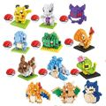 Anime Pocket Monster Figures Model Toys Pikachu Charmander Bulbasaur Charizard Eevee Pok mon Elf Ball Building Blocks kids toys