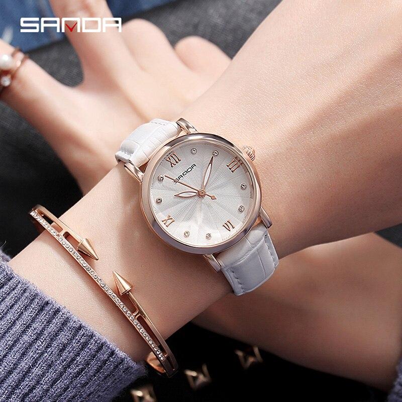 2019 New SANDA Women Watches Ladies Leather Luxury Watches Women Dress Simple Female Hand Clock Relogio Feminino