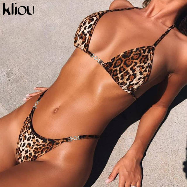 Kliou 2018 women sexy leopard camis underpants two pieces sets swimwear female fashion leopard sexy party clube underwear sets