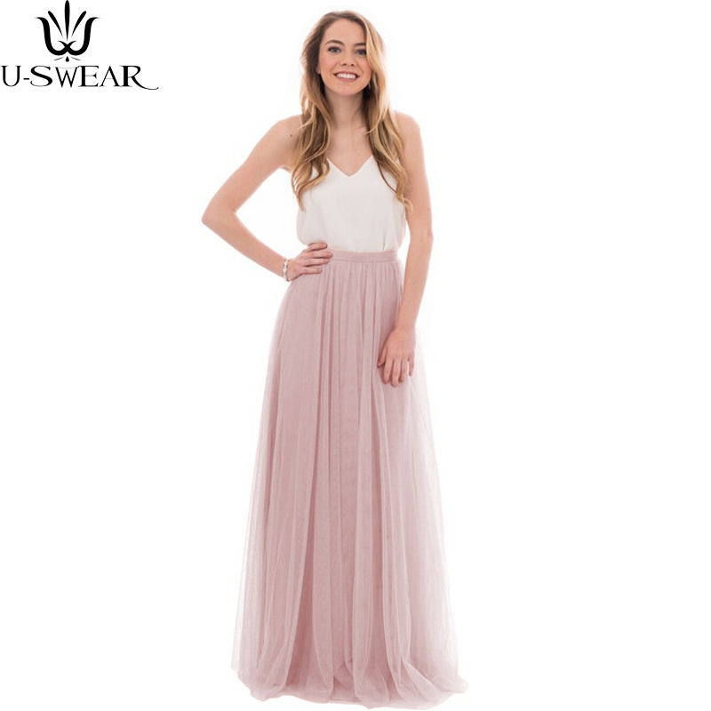 U-SWEAR Peach Pink Long Tulle Skirts For Bridesmaid To Wedding Evening Party Style Tutu Skirt For Women Custom High Quality