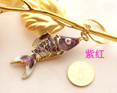 Маленький креативный эмалированный брелок с золотой рыбкой, брелок с рыбкой, китайский этнический перегородчатый ювелирный аксессуар, брелок, Подарочная подвеска-Шарм