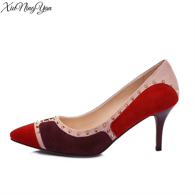 100% Genuine Leather Women Pumps Rivent High Quality Shoes Woman Thin Pink Red Black High Heel Pointed Toe Ladies Shoes 1730/15