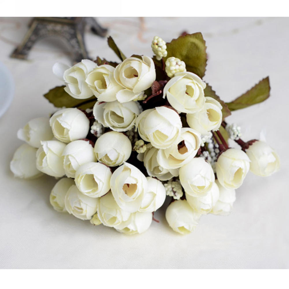 1 Bouquet Beautiful Artificial Ivory Silk Roses Flowers Wedding