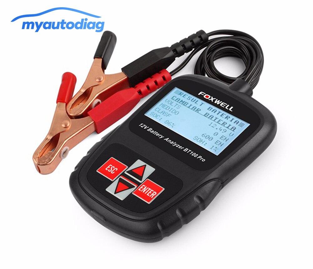 FOXWELL BT100 Pro 12 V cyfrowy tester akumulatora samochodowego do kwasu ołowiowego zalany AGM żel 6V 12 V akumulator samochodowy analizator 1100CCA